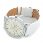 Stylish Water Resistant Stainless Steel Dial Leather Band Wrist Watch - White (1 x 377)