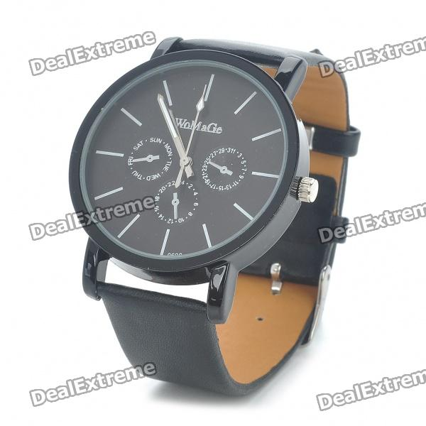 Stylish Water Resistant Stainless Steel Dial Leather Band Wrist Watch - Black (1 x 377)