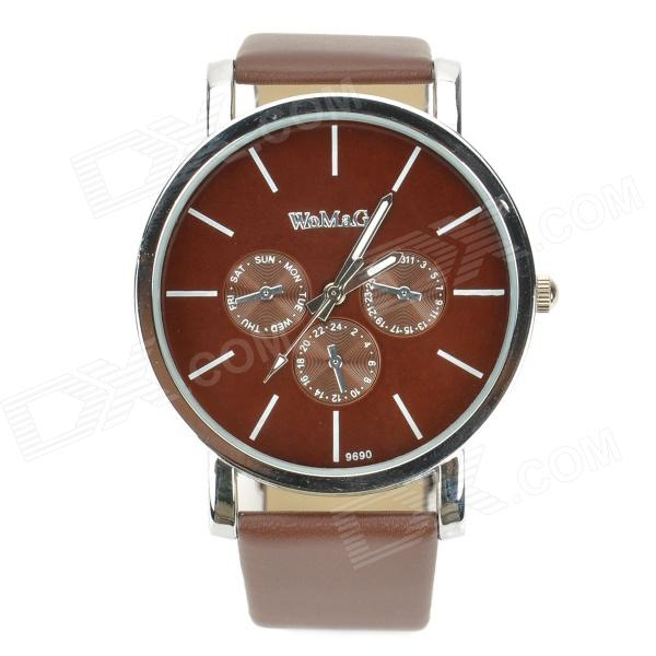 Stylish Water Resistant Stainless Steel Dial Leather Band Quartz Wrist Watch - Brown (1 x 377)