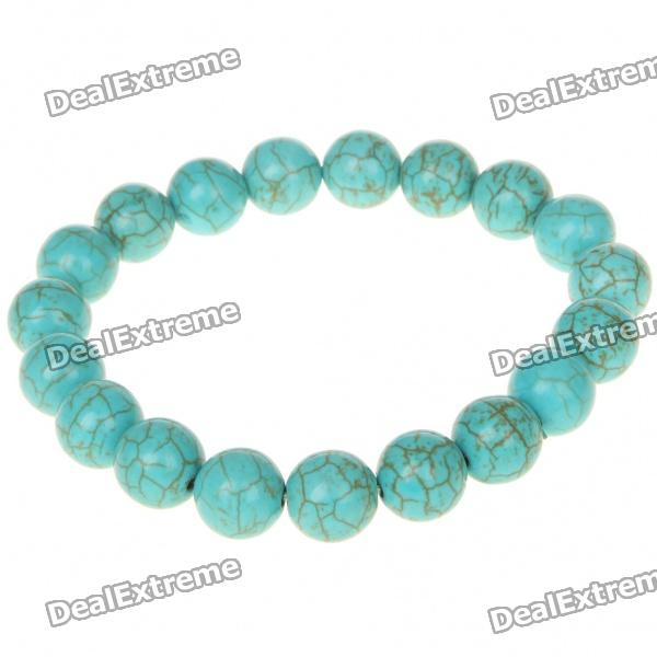 Turkey Imported Turquoise Bead Stretchy Bracelet for Female - Deep Blue-green