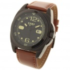 Fashionable Sports Waterproof Quartz Watch for Male - Black + Brown