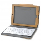 Wireless Bluetooth 2.0 84-Key Keyboard with Protective Leather Case for iPad 2 - Light Brown