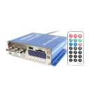 "1.8"" LED 4 x 41W Hi-Fi Stereo Amplifier MP3 Player w/ FM/SD/USB for Car/Motorcycle - Blue (DC 12V)"