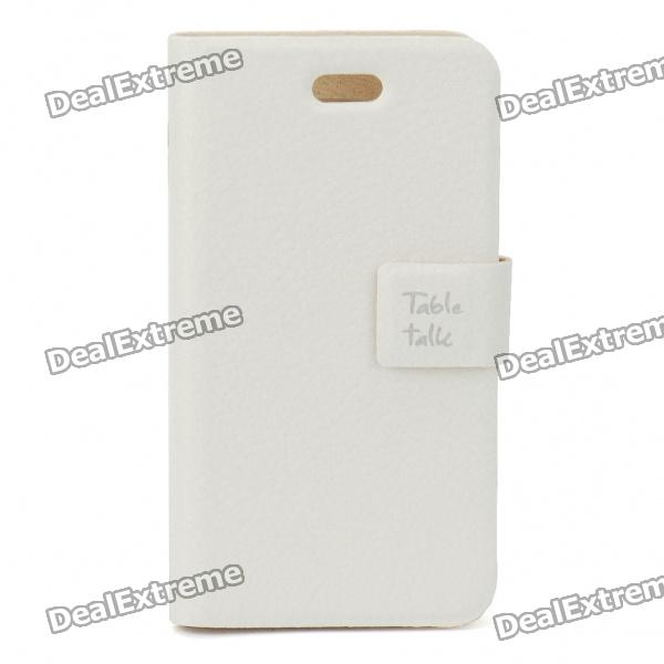 все цены на Elegant Protective PU Leather Case for Iphone 4 - White