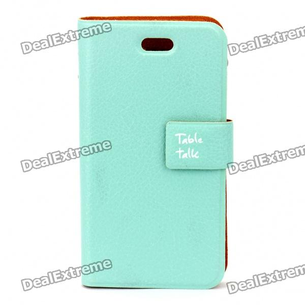 Elegant Protective PU Leather Case for Iphone 4 - Light Blue