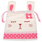 Portable Cute Rabbit Style Carrying Bag Pouch - White