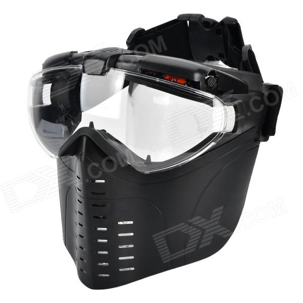 Protective War Game Military Tactical Face Shield Mask with Built-in 2-Mode Fan (2 x AAA) din7 din12 shading area solar auto darkening welding helmet protection face mask welder cap for zx7 tig mig welding machine