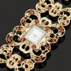 Square Antiquing Crystal Engraved Quartz Watch - Golden (1 x 337S Battery)