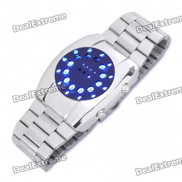 Fashion Blue LED Water Resistant Wrist Watch - Silver (2xCR2016)