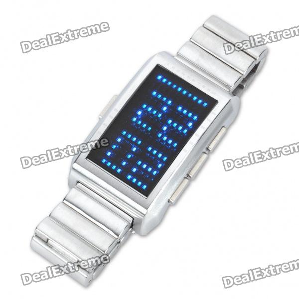 Modisches blaues 130-LED Digits / Dot Matrix Display Wrist Watch - Silver (2xCR2032)