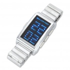 Stylish Blue 130-LED Digits/Dot Matrix Display Wrist Watch - Silver (2xCR2032)