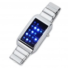 Fashion Water Resistant Blue 16-LED Wrist Watch with Date Display - Silver (2xCR2032)