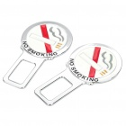 Universal No Smoking Style Car Seat Safety Belt Buckle - Silver (2-Piece Pack / Random Color)