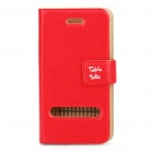 Stylish Protective PU Flip case for iPhone 4 - Red