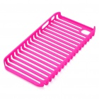Protective Fashion Stripe Style PVC Case for Apple iPhone 4 - Deep Pink
