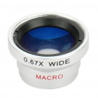 20mm Detachable Wide Angle Fish Eye Lens for Cell Phone and Digital Cameras - Silver + Black