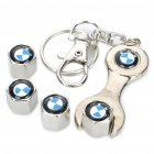 Car Tire Valve Caps with Mini Wrench & Keychain for BMW (4-Piece Pack)
