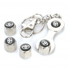 Car Tire Valve Caps with Mini Wrench & Keychain for Toyota (4-Piece Pack)