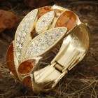 Leaves Cluster Style Zinc Alloy Bracelet Engraved with Crystal - Golden + Brown
