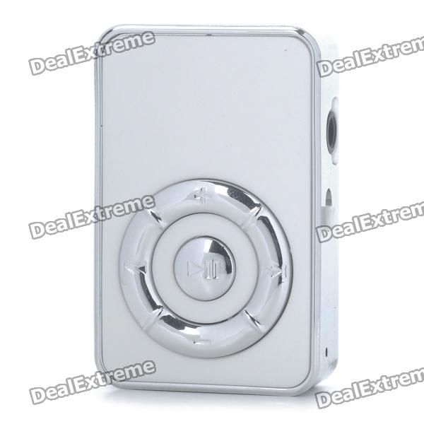 USB Rechargeable Screen-Free MP3 Player w/ 3.5mm Audio Jack/TF Slot - White
