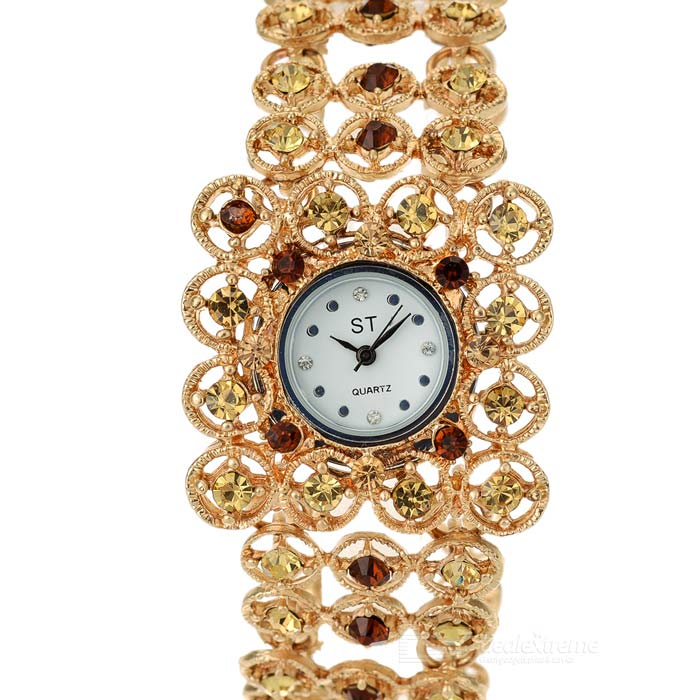 Rounded Antiquing Crystal Engraved Quartz Watch - Golden (1 x 337S battery)