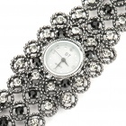 Rounded Antiquing Crystal Engraved Quartz Watch - Black (1 x 337S Battery)