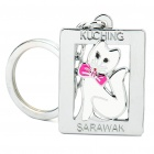 Square White Cat with Pink Bow Tie Style Keychain - Silver + white