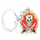 Flame Skull Head Style Keychain - Silver + Yellow