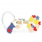 Gun Shooting Out A Bunch of Flower Style Keychain - Silver + Yellow + Purple