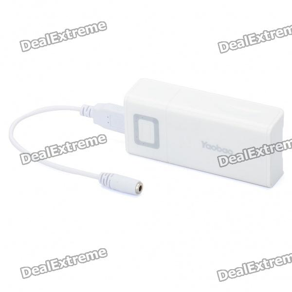 Rechargeable 5000mAh USB Mobile Emergency Power Battery with 8 Adapters - White