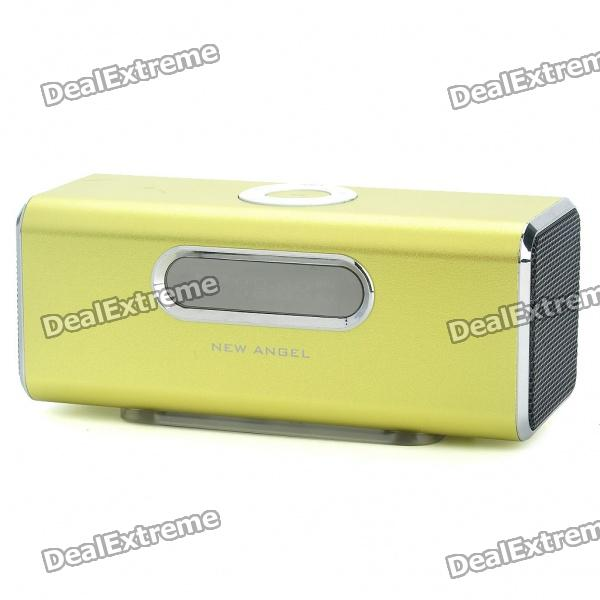 "1.6"" LCD 2x3W Mini USB Rechargeable MP3 Music Player Speaker with FM/USB/TF - Green thumbnail"