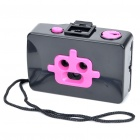 Lomo Style Fashion Action 3-Lens Robot 35mm Film Camera - Black + Deep Pink