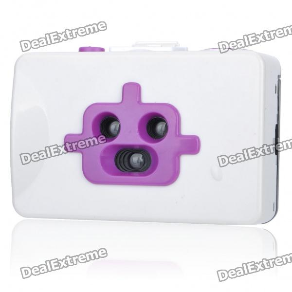 Lomo Style Fashion Action 3-Lens Robot 35mm Film Camera - White + Purple