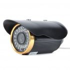 Water Resistant IR Surveillance Security Camera with 48-LED Night Vision - Black + Gold (6mm Lens)