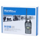 "H-5118 5W 1.0"" LCD 400~480MHz 199-Channel Walkie Talkie w/ FM Radio - Black"