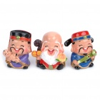 Chinese Three Lucky Gods Fulushou Resin Doll for Collection & Display (3-Piece Pack)