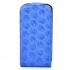 Elegant Protective Flower Pattern PU Leather Cover Case for Iphone 4 - Deep Blue