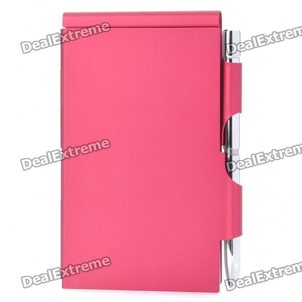 Compact Elegant Aluminum Alloy Notebook Notepad with Ballpoint Pen - Red 27 retractable aluminum alloy tactical spring loaded bipod rifle stand for m4 m16 max 80kg