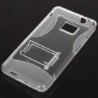 Protective Matte Frosted Back Case with Stand for Samsung i9100 - Transparent White