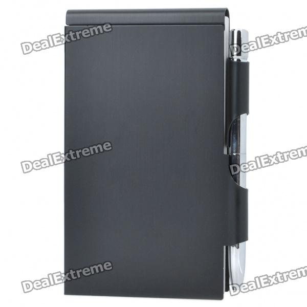 Compact Elegant Aluminum Alloy Notebook Notepad with Ballpoint Pen - Black 27 retractable aluminum alloy tactical spring loaded bipod rifle stand for m4 m16 max 80kg