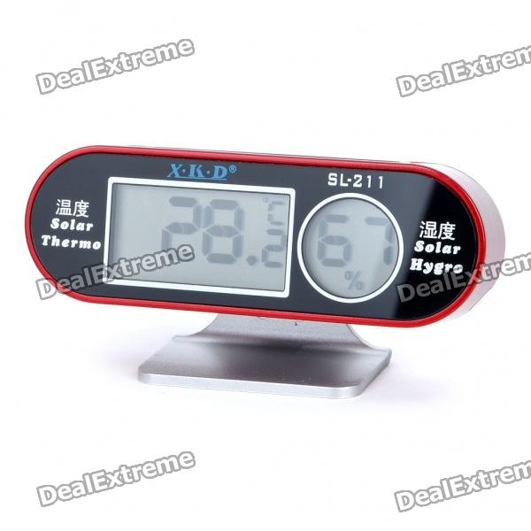 "Solar Powered 1.5"" LCD Digital Thermometer & Hygrometer - Red"