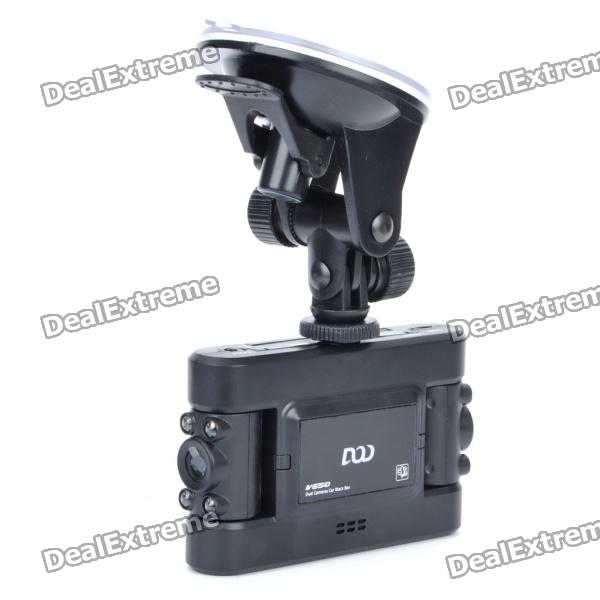 "DOD V650 Dual Lens 5MP Weitwinkel Auto DVR Camcorder w / 8-IR LED Night Vision / SD (2 ""TFT LCD)"