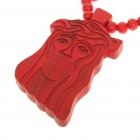 Wooden Christ Pendant Jesus Rosary Necklace - Red