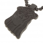 Wooden Christ Pendant Jesus Rosary Necklace - Black