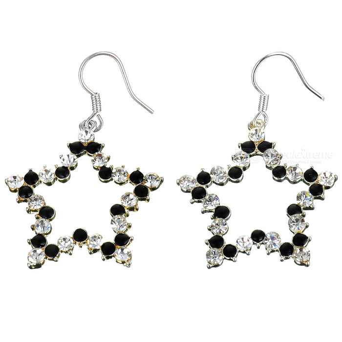 Silver Dangling Star Earing with Black & Clear Stone