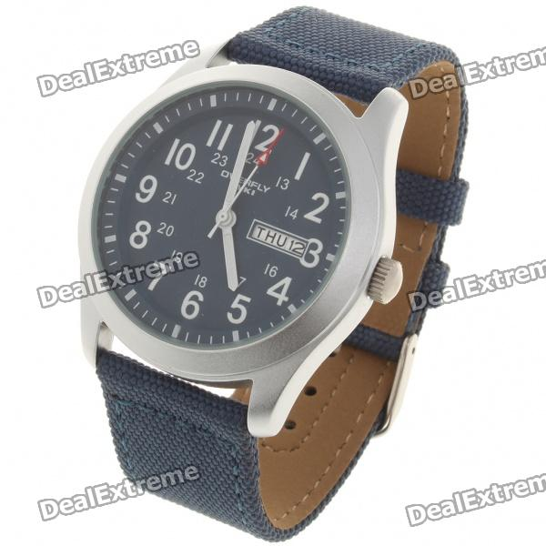 Waterproof Nylon Band Stainless Steel Dial Sport Wrist Watch w/ Date/Week - Dark Blue (1 x SR626SW)