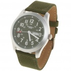 Waterproof Nylon Band Stainless Steel Dial Sport Wrist Watch w/ Date/Week - Army Green(1 x SR626SW)