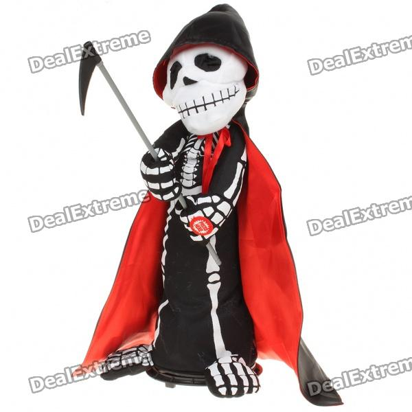 Electronic Halloween Wiggly Death Doll Toy w/ Sound Effect/Rotatable Base (3 x AA)