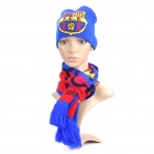 Soccer/Football Team Emblem 2-Layer Knitting Warm Scarf + Hat - Barcelona