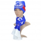 Soccer/Football Team Emblem 2-Layer Knitting Warm Scarf + Hat - Chelsea
